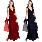 Pleated Flowing Formal Evening Gown Bridesmaid Dress with shawl ed8556