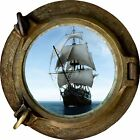 Huge 3D Porthole Pirate Schooner Ship View Wall Stickers Film Mural Art Decal