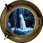 Huge 3D Porthole Lone White Wolf Wolves View Wall Stickers Art Decal Wallpaper