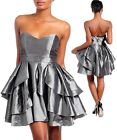 WOMENS DRESS FORMAL TIERED RUFFL FULL SKIRT STRAPLESS SILVER BONED S M L