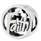.925 Sterling Silver Reflection Antiqued Religious Cross Heart Anchor Bali Bead