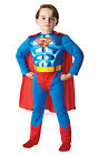 FANCY DRESS COSTUME ~ BOYS DC METALLIC SUPERMAN MUSCLE CHEST AGES 3-8 YEARS