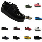 COMFORTABLE LADIES CREEPERS PLATFORM WEDGE LACE UP GOTH PUNK SHOES UK 2-9