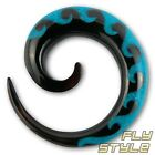 HORN TURQUOISE SPIRAL EXPANDER taper piercing gauge tunnel plugs strecher waves