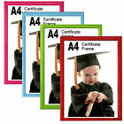 A4 Photo Picture Certificate Frame Red Pink Green Blue Wall Desk Mountable Glass