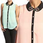 TheMogan Jeweled Contrast Collar Sleeveless Blouse Button Down Chiffon Tank Top