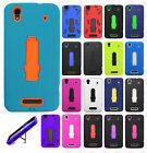 For Boost Mobile ZTE MAX N9520 Impact Hard Rubber Case Phone Cover Kickstand