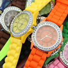 HOT! Bling Crystal Rhinestone Bezel Geneva Silicone Rubber Women Jelly Watch