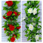 "78.8"" Artificial Ivy Leaf Garland Plant Vine Fake Rose Home Party Decor 2 Colors"