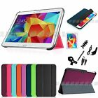 Slim Leather Case Cover Accessory Bundles for Samsung Galaxy Tab 4 10.1 Tablet