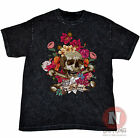 Day of the dead skull flowers art retro vintage acid mineral wash black t-shirt