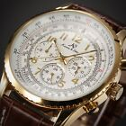 KS Aviator Gold Case Day Date Leather Strap Men Automatic Mechanical Wrist Watch