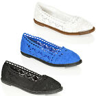 WOMENS LADIES FLAT CASUAL SLIP LACE CROCHET PUMPS BALLET SUMMER WORK SHOES SIZE
