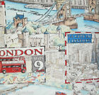 London Cotton Material Blue Printed Fabric Red The Capital Vintage Sold by Metre
