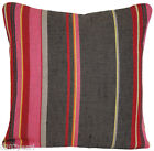 Cushion Pillow Cover Pierre Frey Fabric Woven Country Stripes Grey Pink Yellow