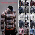 Brand New Men's Plaid Casual Madras Cotton Long Sleeve Dress Shirts Button Front