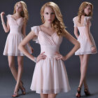 Pale pinkish Grace Mini Formal Prom Dress Party Bridesmaid Evening Ball Gown 2 +