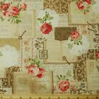 Vintage Books And Roses Cream Japanese Cotton Linen