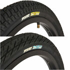 "(Pair of) 20"" BMX Tyres All Black Xposure Chas n Dave with Optional Tubes"