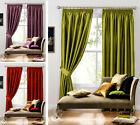 LUXURY FAUX SILK CURTAIN - Plain Pencil Pleat Ready Made Fully Lined Curtains