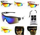 A3013-VP SPORT CYCLING RUNNING GOLF WRAP UNISEX PARTY MIRRORED Sunglasses +Pouch