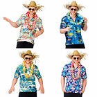Adults Multi Floral Palm Tree Hawaiian Shirt Luau Summer Party BBQ Fancy Dress