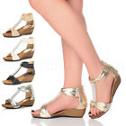 WOMENS LADIES WEDGE MID HEEL T-BAR ZIP SUMMER DIAMANTE PARTY SANDALS SIZE