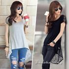 Sexy Women Boat Neck Sheer Floral Lace Trim Hi-Lo Club Casual Blouse T-Shirt Top