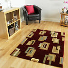 Cheap Soft Red Beige Luxurious Hall Mats Funky Narrow Squares Design Runner Rugs