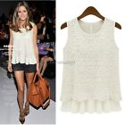 New Ladies Women Lace Blouse Sleeveless Doll Chiffon Tops S-XL Faux Two Piece