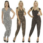 New Ladies Womens Animal Leopard Print All In One Jumpsuit Playsuit Size S M L 8