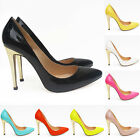 WOMENS HIGH HEEL THIN STILETTO PARTY PROM COURT SHOES PUMPS Golden Heels UK2-9