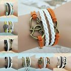 NEW 8pcs Style DIY Hot Infinity Wheel Leather Cute Charm Bracelet plated Silver