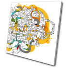 Illustration Funky Abstract  SINGLE CANVAS WALL ART Picture Print VA