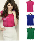 Girl Candy Color loose leisure Womens Chiffon Short tulip Sleeve Blouse Tops
