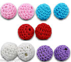 20 Woven Round Acrylic Beads Covered W/Wool 16mm M0320