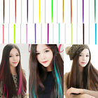 12 Colors Party colorful hair highlights clip in on hair extensions synthetic