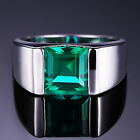 3.6ct Nano Russian Emerald Men's Ring Solid 925 Sterling Silver Size 7 8 9 10 11