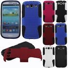 For Samsung Galaxy S 3 i9300 I535 T999 L710 Mesh Hybrid Rubber Hard Case Cover