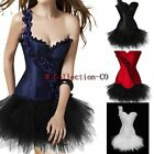 Rose Shoulder Corset Ladies Lace up Boned Basque TUTU Skirt Set Party Costume