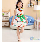 Summer Girl Kids Toddler Scrawl Belt Chiffon Princess Dresses Clothes 2-7 Y