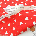 PER half metres valentines heart fabrics pink blue red  100% cotton 112cm wide