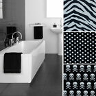 "Black & White Modern Fabric Nylon Shower Curtain 70""X70"" Zebra Poker Dot Skull"