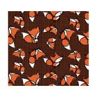 Frolicking Forest Foxes On Brown 100% Cotton Fabric