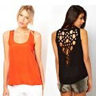 Sexy Women's Scoop Neck Cut-Out Hollow Slim Casual Tank Top T-Shirt Blouse Vest