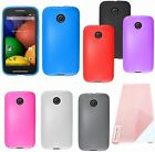 For Motorola MOTO E Cover TPU Gel Soft Fitted Skin Candy Case + Screen Protector