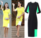 Formal Casual Bodycon Sheath Business Half Sleeve Pencil Midi Evening Gown Dress