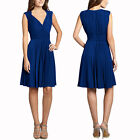 Stretch Jersey Pleated V-Neck Sleeveless Cocktail Party Flare Day Dress Blue