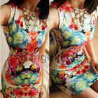 New Retro Flower Print Sexy Womens Sleeveless Slim Chiffon Dress Mini Dress Hot