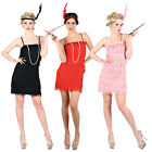 Adult Ladies Flapper Girl 1920s Fancy Dress Costume Charleston Red Black Pink